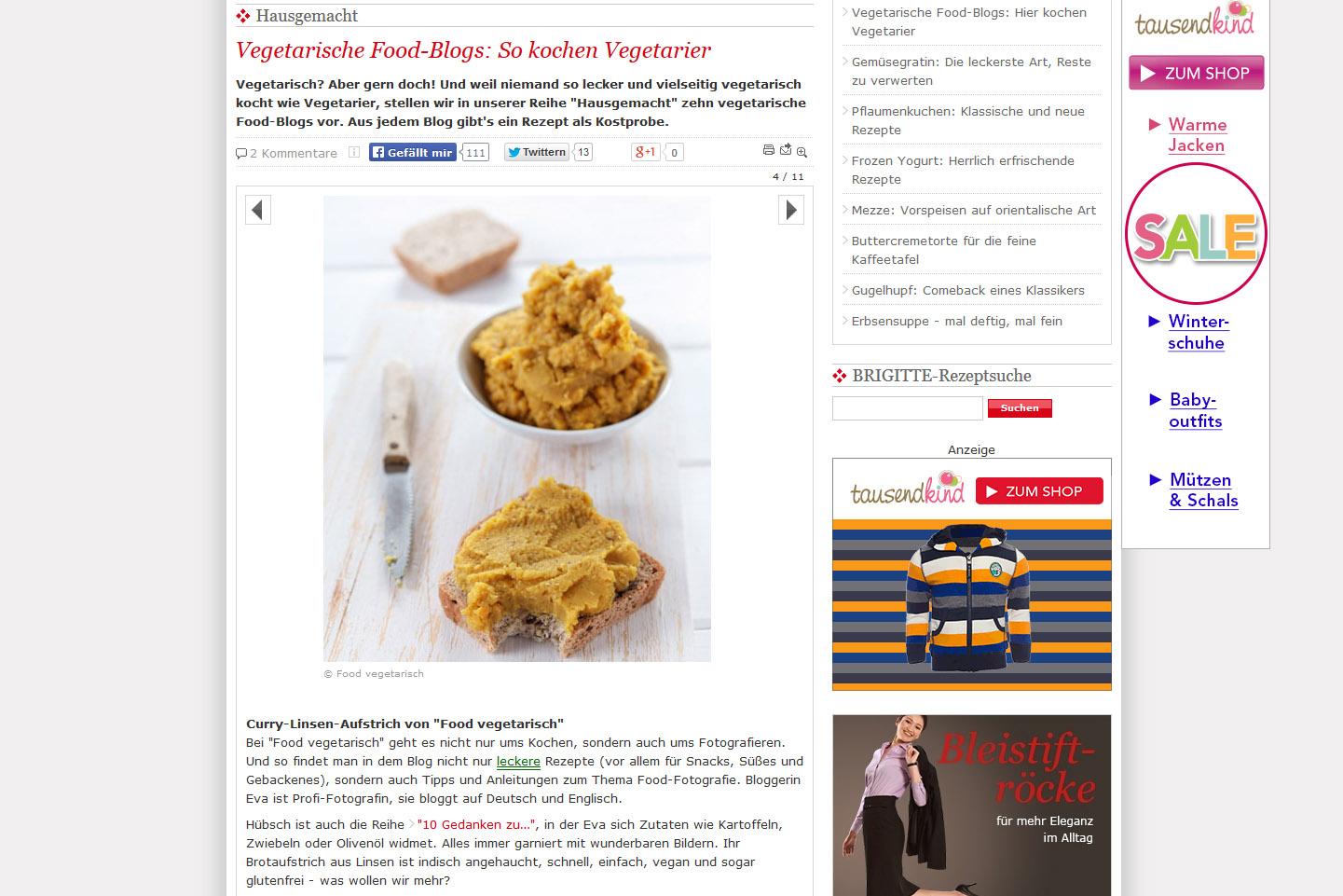"""Brigitte.de """"Hausgemacht"""" Vegetarische Food-Blogs: So kochen Vegetarier"""