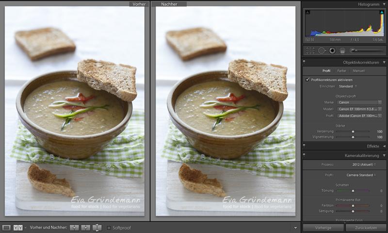 Erster Schritt bei digitaler Bildbearbeitung von Food Fotografie.