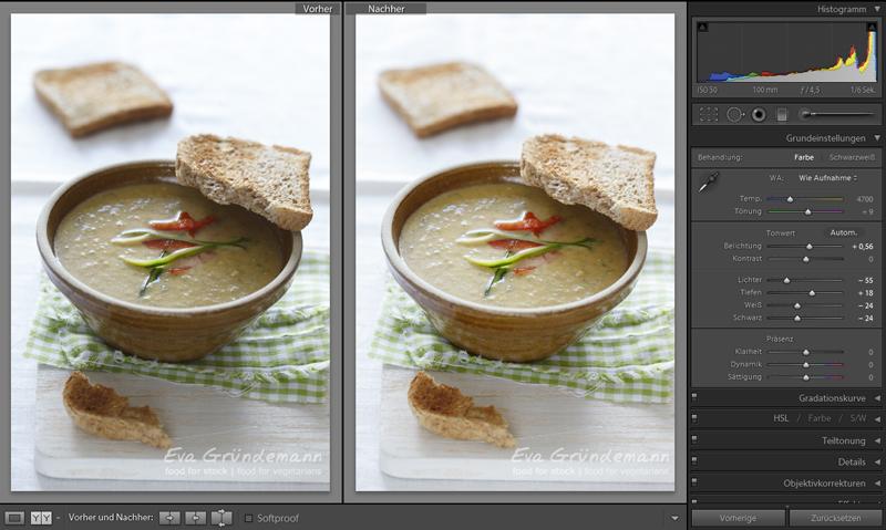 Zweiter Schritt bei digitaler Bildbearbeitung von Food Fotografie.