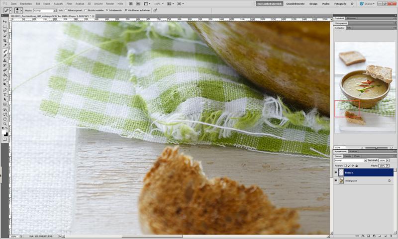 Fünfter Schritt bei digitaler Bildbearbeitung von Food Fotografie.