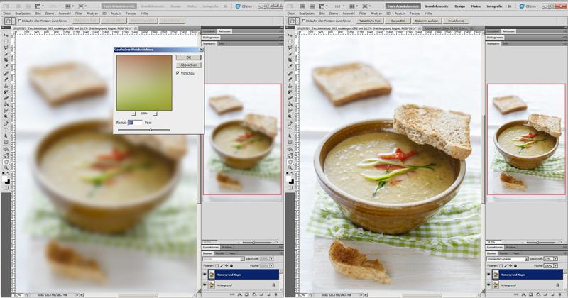 Sechster Schritt bei digitaler Bildbearbeitung von Food Fotografie.