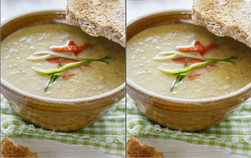 Siebter Schritt bei digitaler Bildbearbeitung von Food Fotografie.