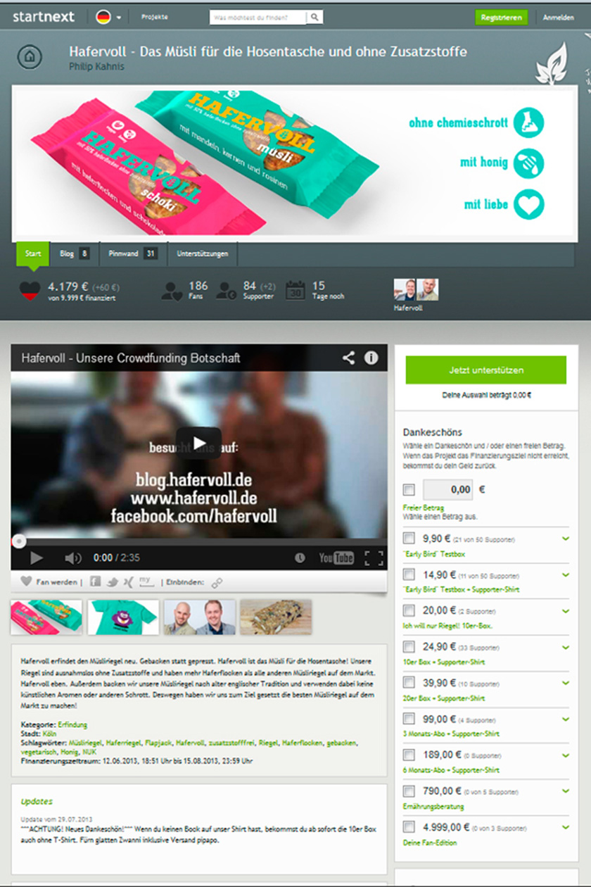 Hafervoll Crowdfunding | food-vegetarisch.de