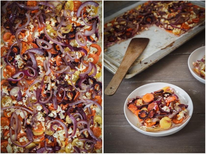 Flammkuchen mit bunten Möhren | food-vegetarisch.de
