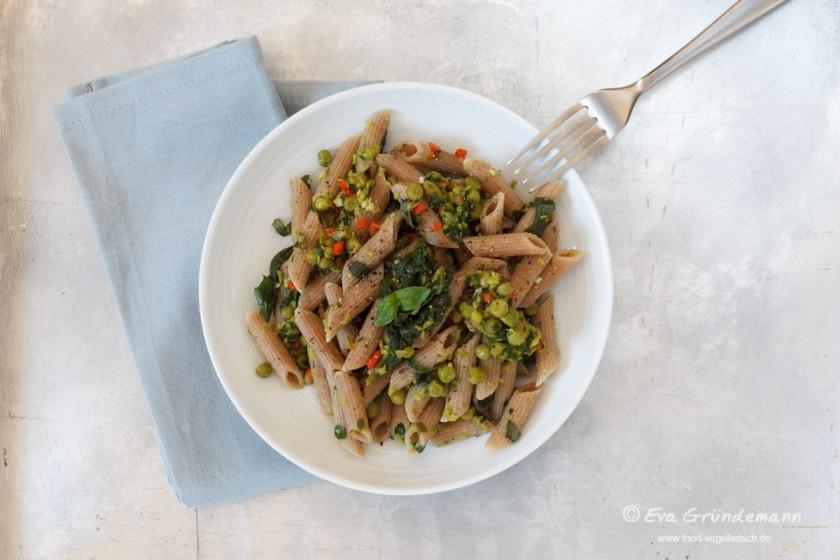 Erbsen-Spinat Rigatoni | food-vegetarisch.de