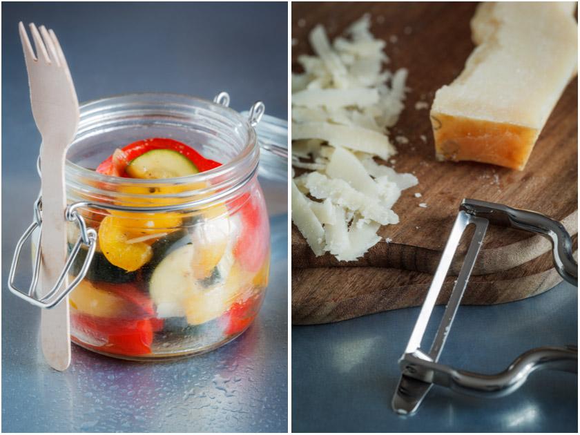 Gebratener Zucchini-Paprika-Salat im Glas | food-vegetarisch.de