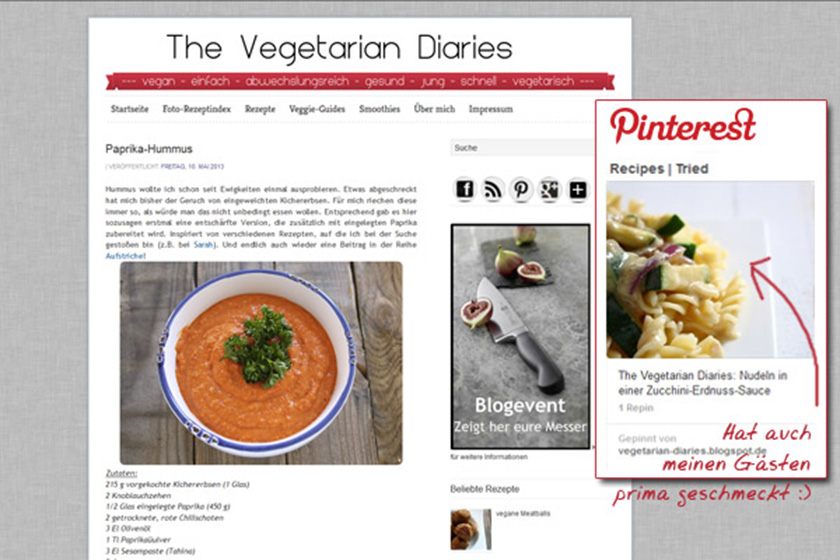 "Zum Food Blog ""Vegetarian Diairies"""