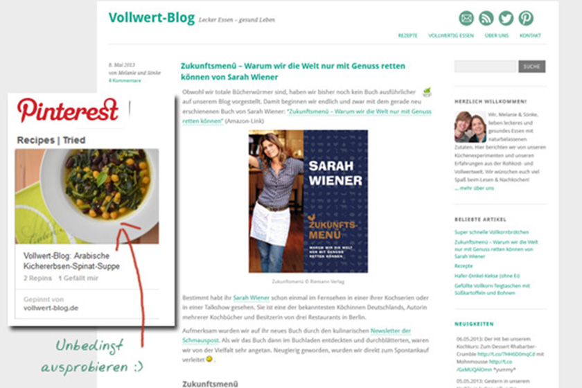 "Zum Food Blog ""Vollwert-Blog"""