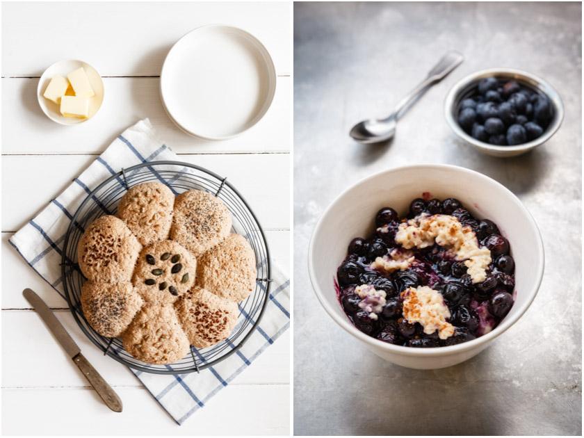Brötchensonne + Blaubeermuffin-Porridge